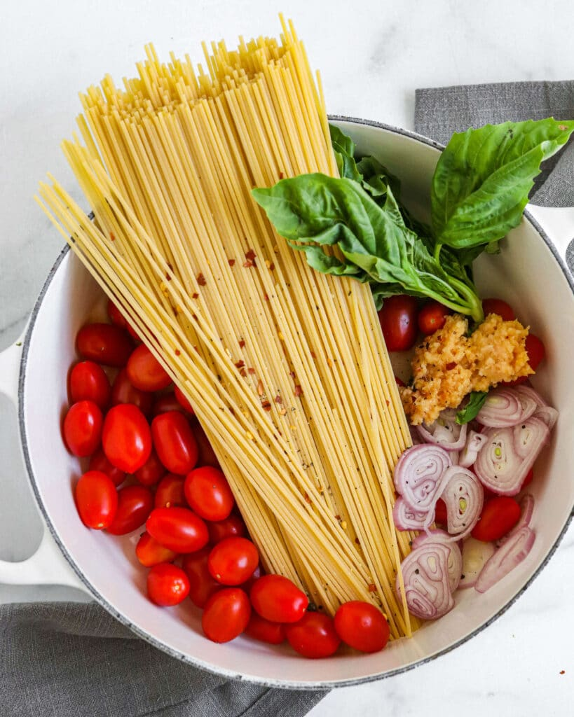 One-pot pasta ingredients before cooking