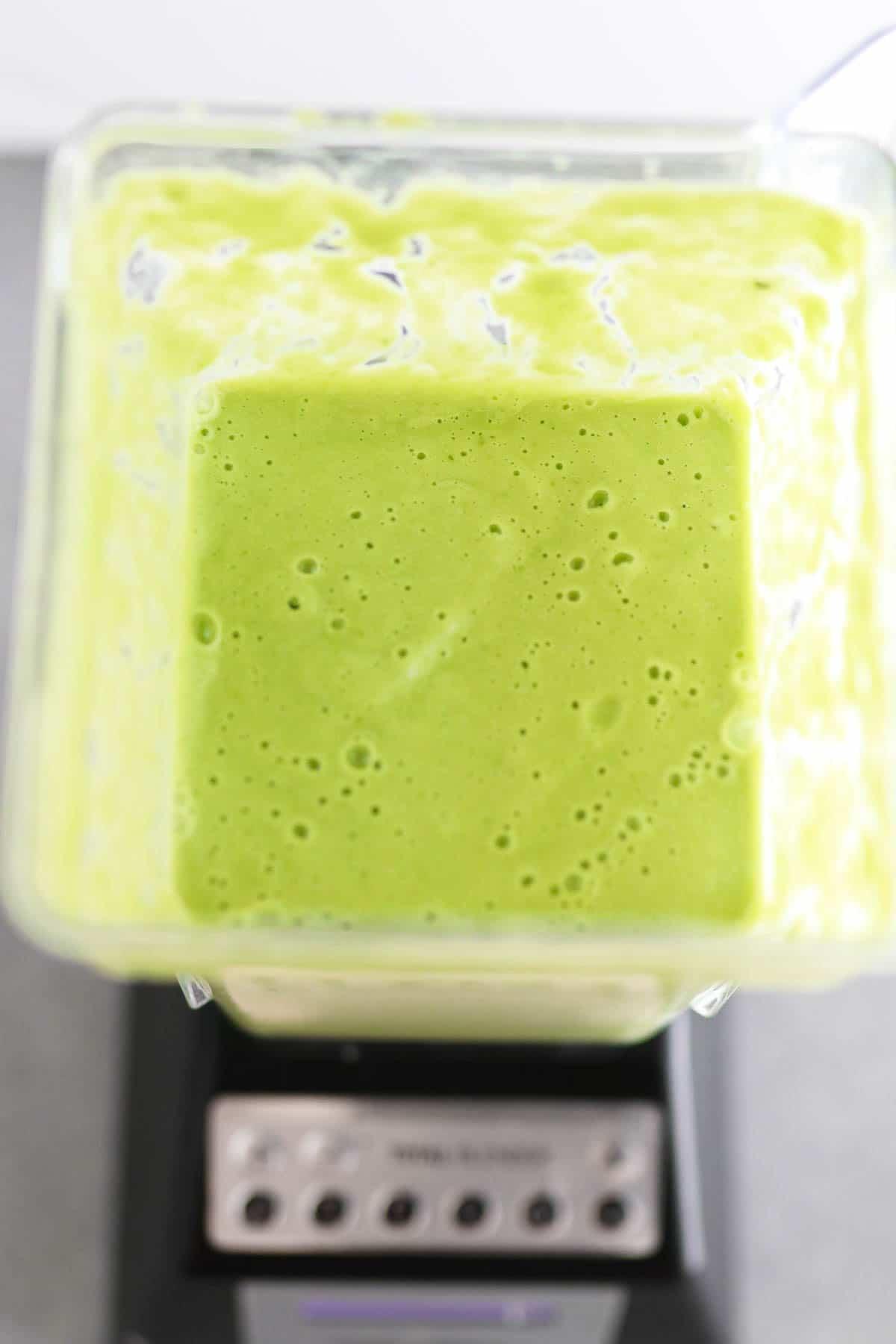 photo of blended gazpacho in the blender