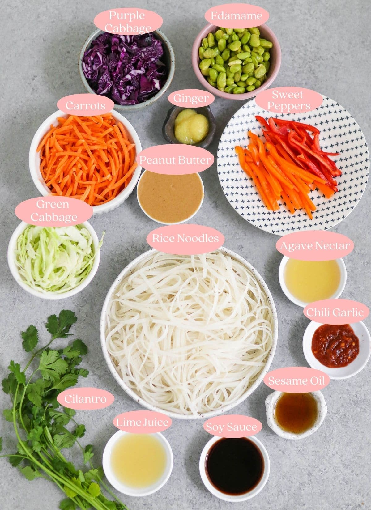 Photo of ingredients with pink labels
