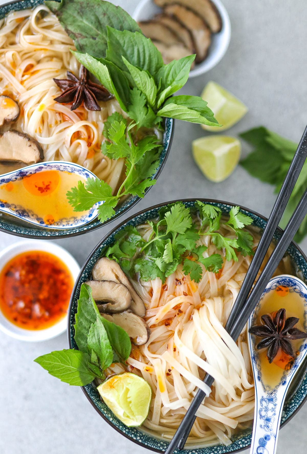 finished photo of pho in two bowls