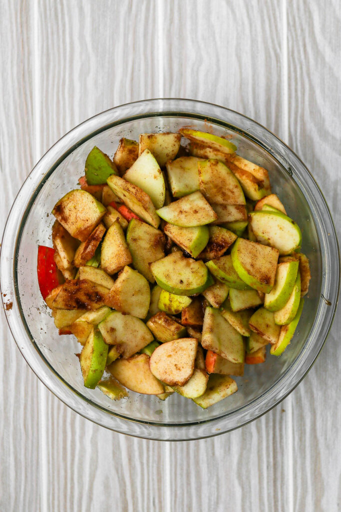 apples with other ingredients mixed in.