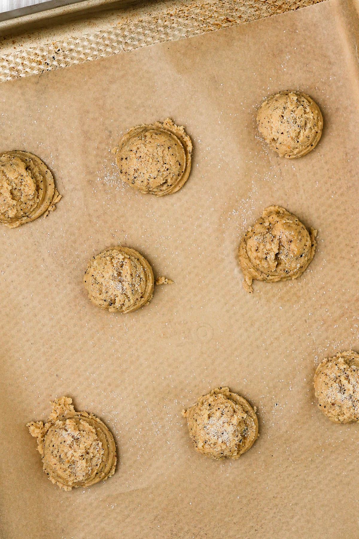 cookie dough balls before baking.