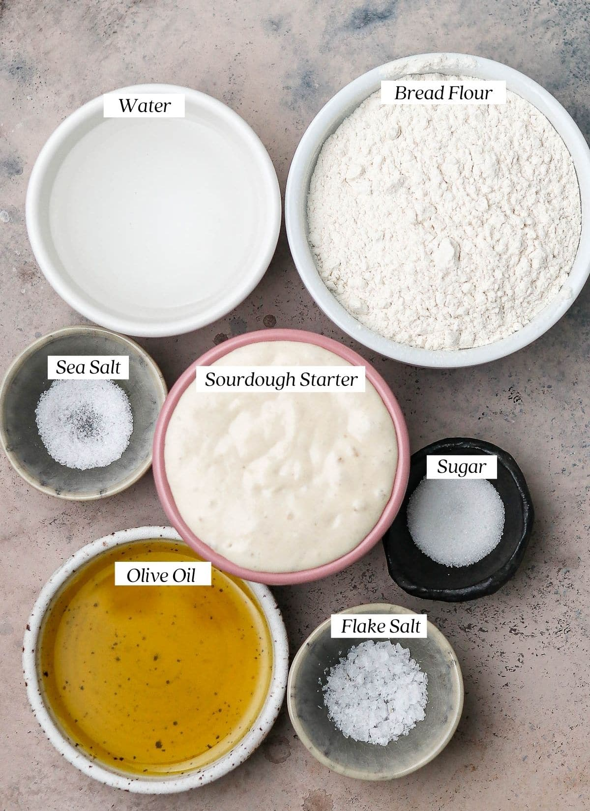 ingredients with labels.