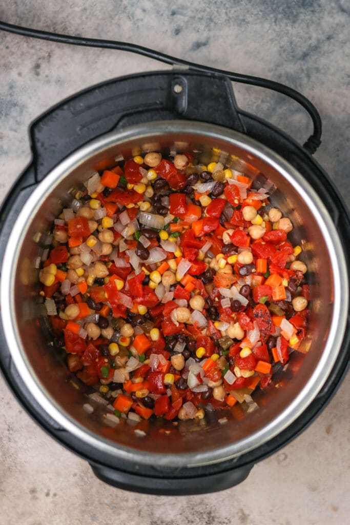 all beans and vegetables in the instant pot.
