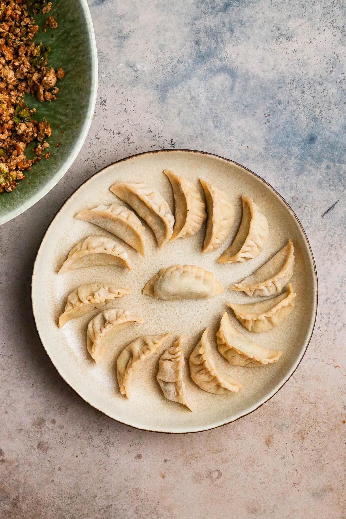plate full of folded but uncooked dumplings.